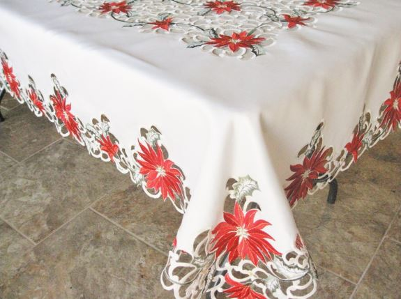 embroidered red poinsettia on ivory 67″ x 90″ table cloth