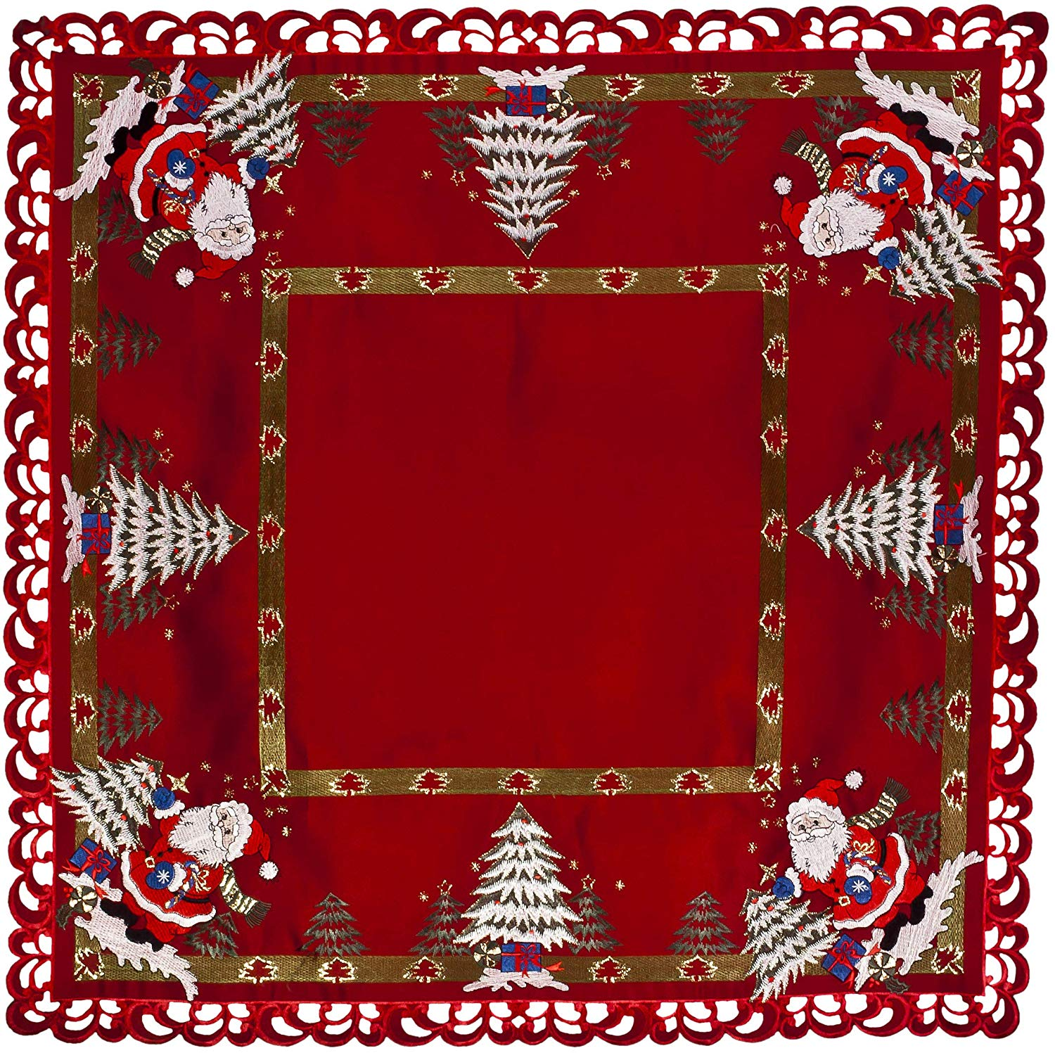 36 inch embroidered santa claus table topper