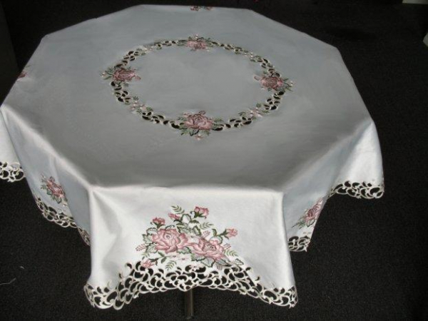 embroidered light pink rose round tablecloth