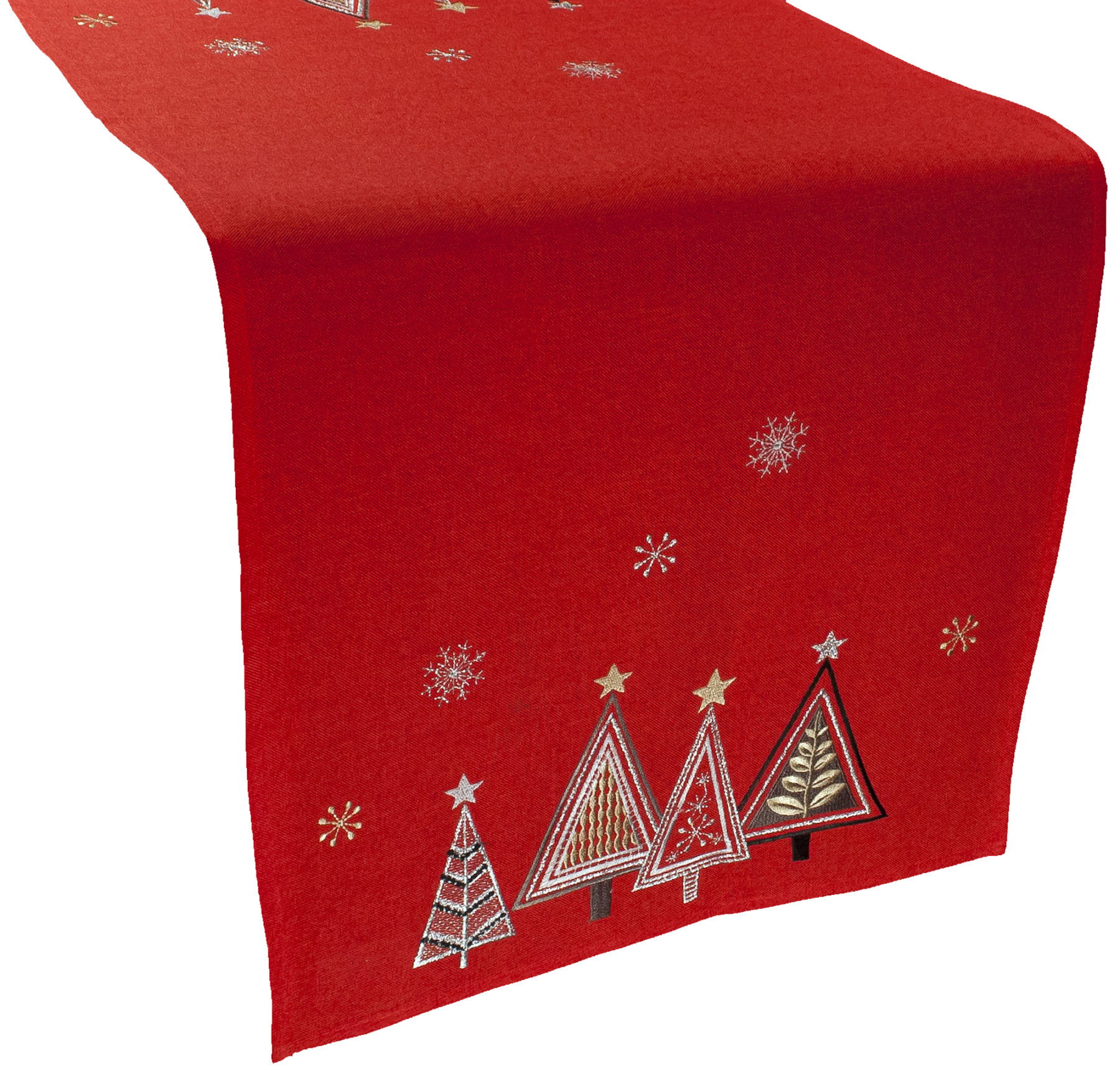 embroidered christmas trees table runner – 16 x 70 rectangle
