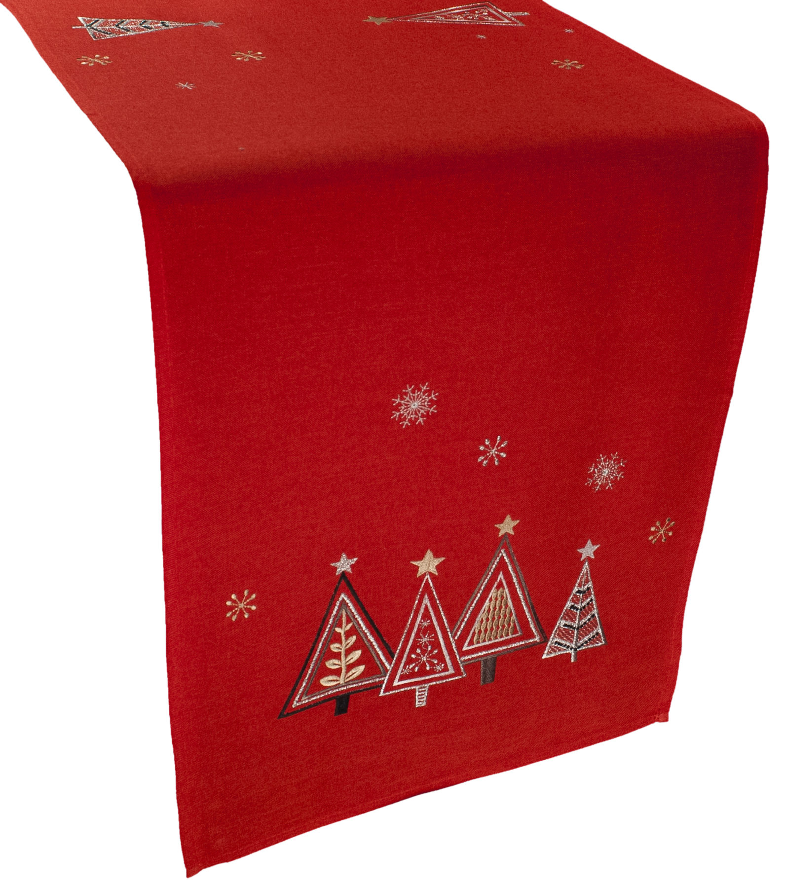 embroidered christmas trees table runner – 16 x 35 rectangle