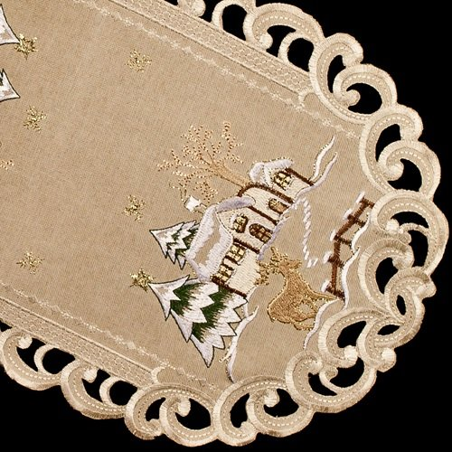 embroidered beige snow scene christmas fireplace mantle scarf