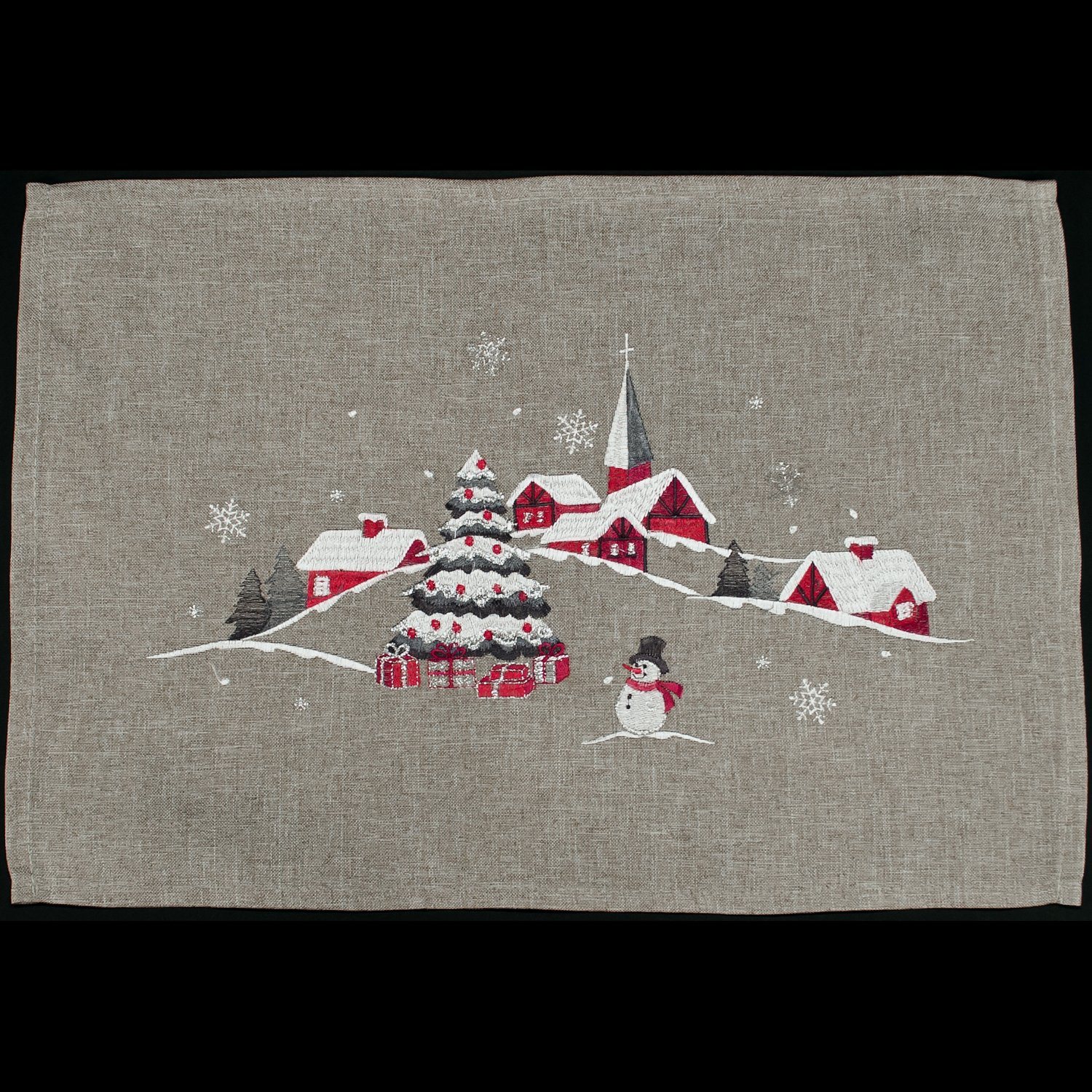 embroidered outdoor christmas scene rectangle place mat