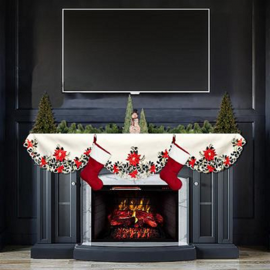 christmas embroidered red poinsettia fire place mantle scarf