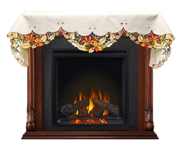 mantel scarf for fireplace with fall maple leaf