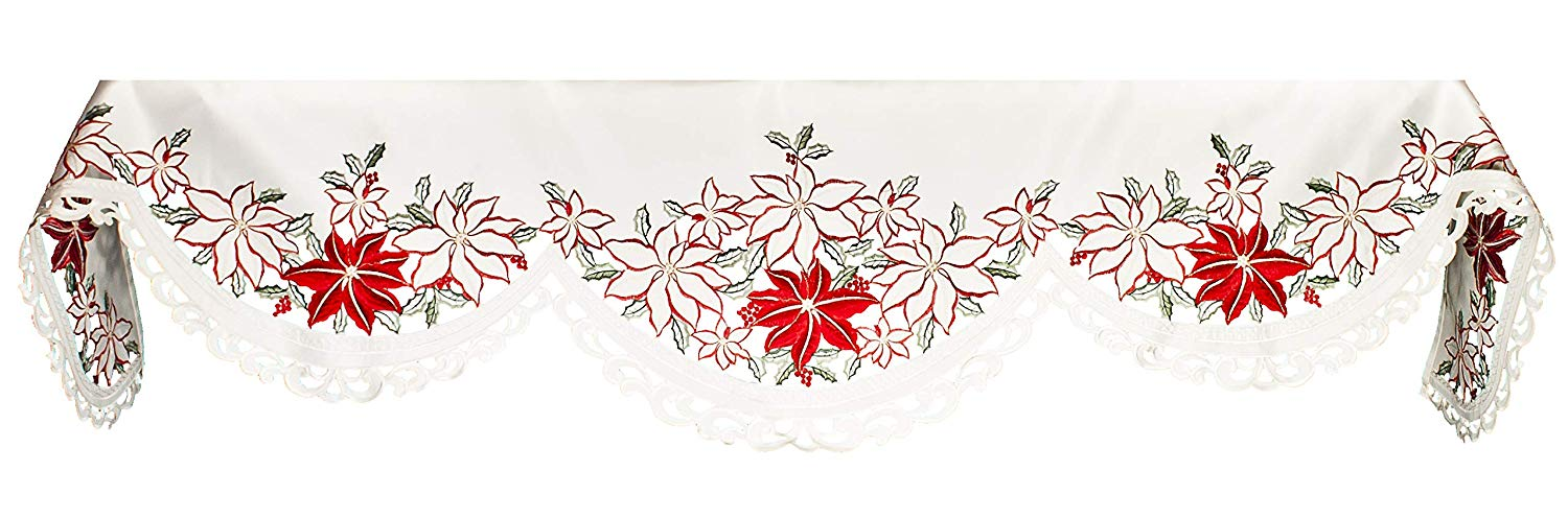 embroidered poinsettia fireplace mantel scarves