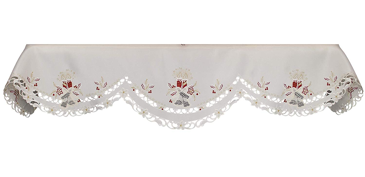 embroidered candle & bells fireplace mantle scarves