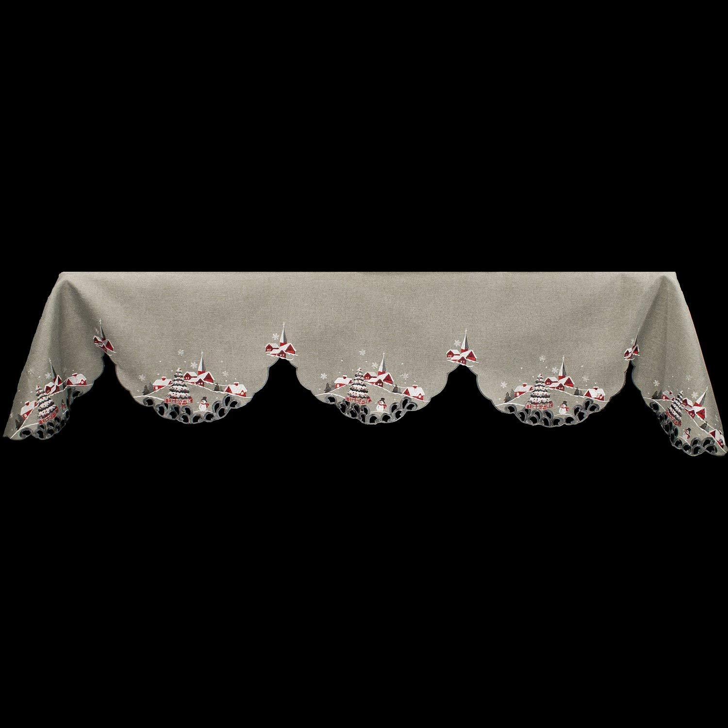 embroidered snow scene fireplace mantel scarf