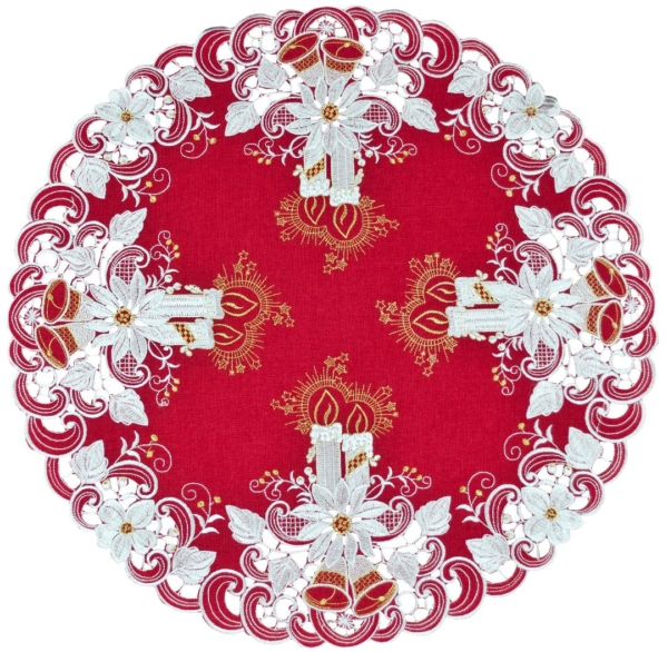 embroidery candles & bells round doily