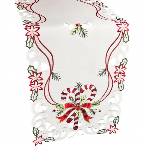embroidered candy cane table runner – 16 x 35 oval