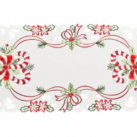 embroidered candy cane table runner