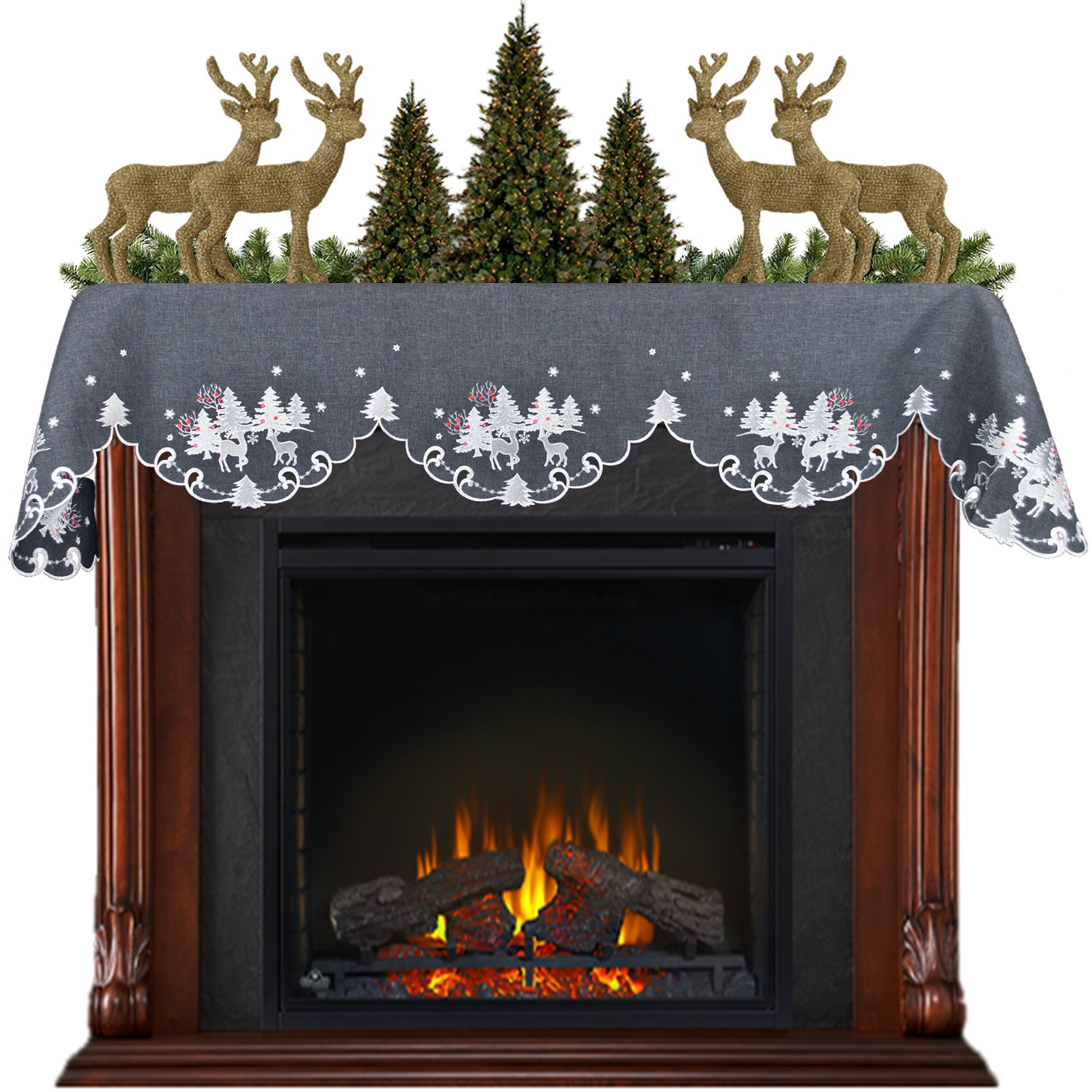 embroidered reindeer fireplace mantel scarf