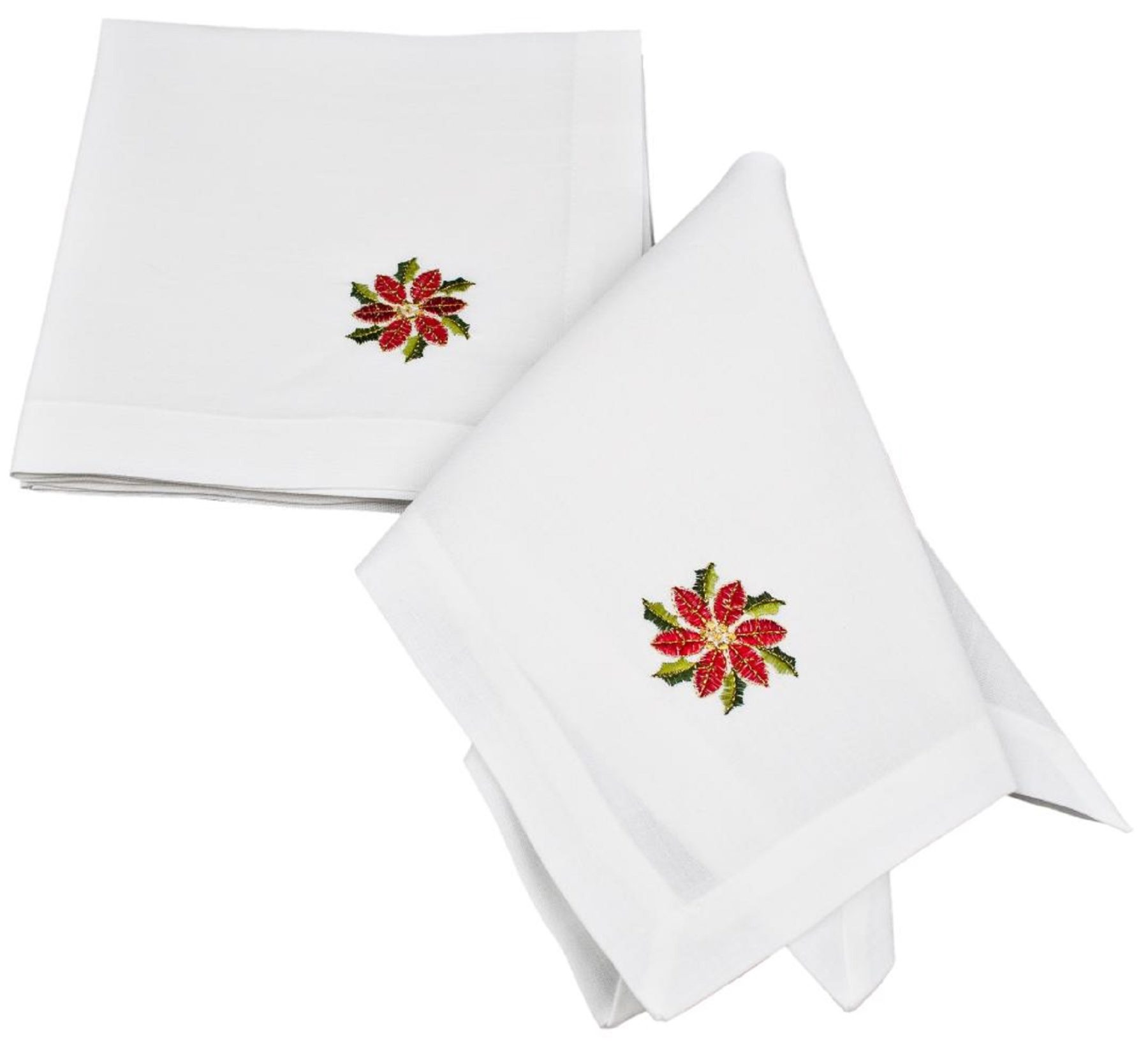 embroidered red poinsettia christmas napkins