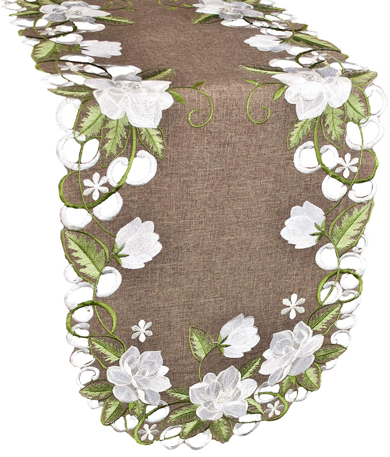 embroidered white magnolia linen table runner – 16 x 34 oval
