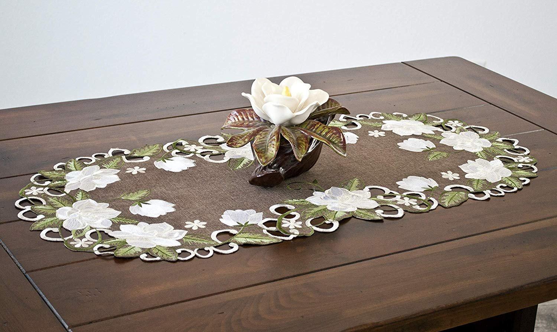embroidered white magnolia linen table runner