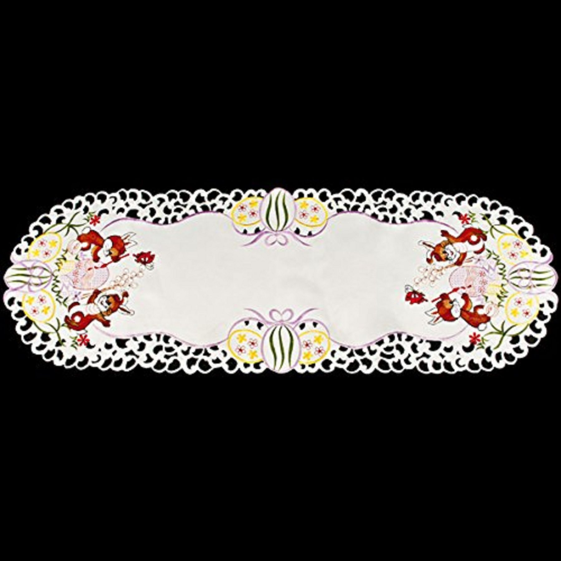 embroidered eggs & bunnies table runner