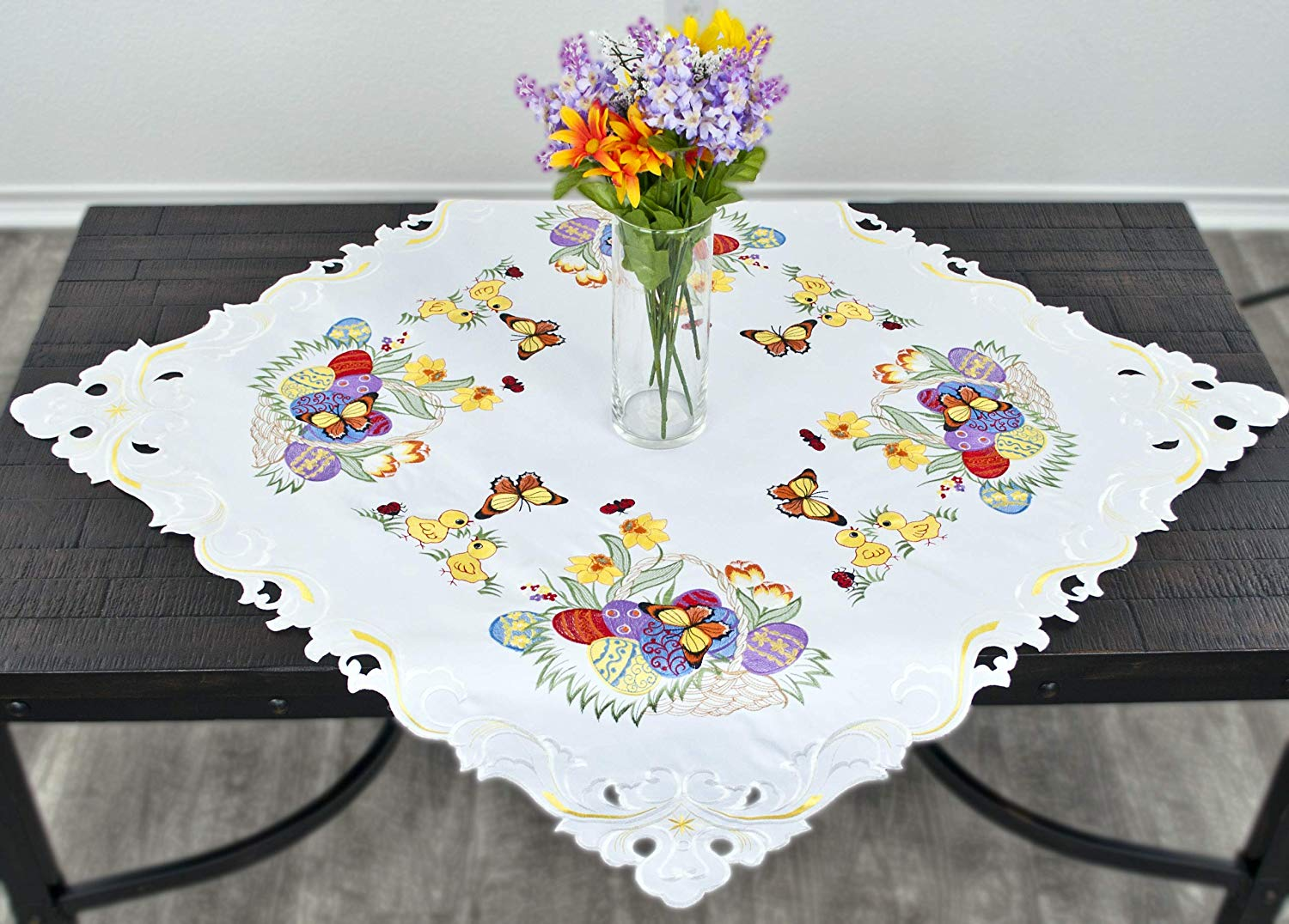 easter egg table topper 33 inch square