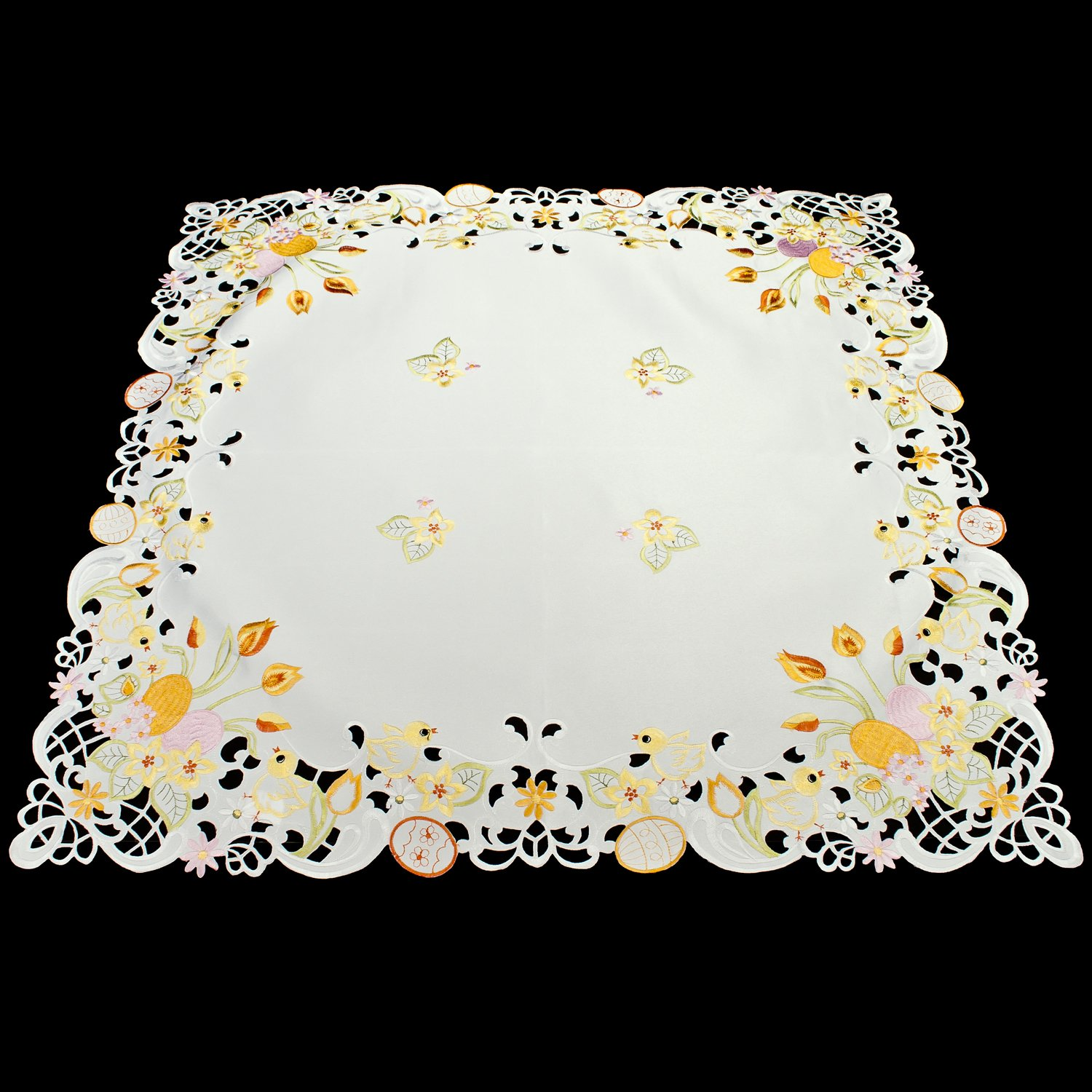colorful easter egg square table topper