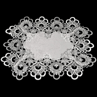 silver gray peacock lace placemat