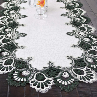 hunter green peacock lace table runner – 16×54 oval