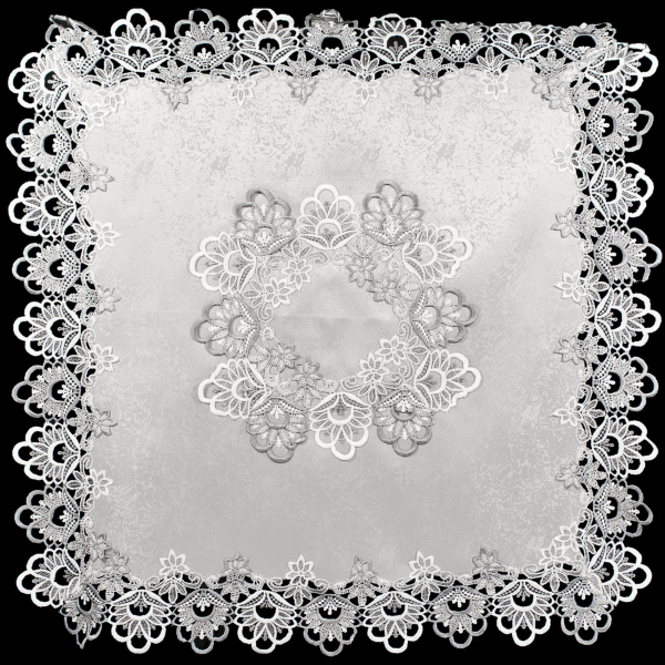 silver lace with antique jacquard fabric table topper