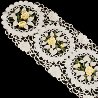 yellow rose table runner on ivory