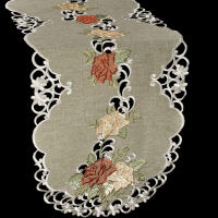 embroidered table runners gold and rust rose