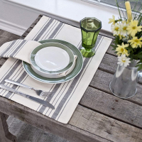 placemat in gray or blue on beige stripes