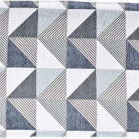 table runner with triangle patterns in blue and gray