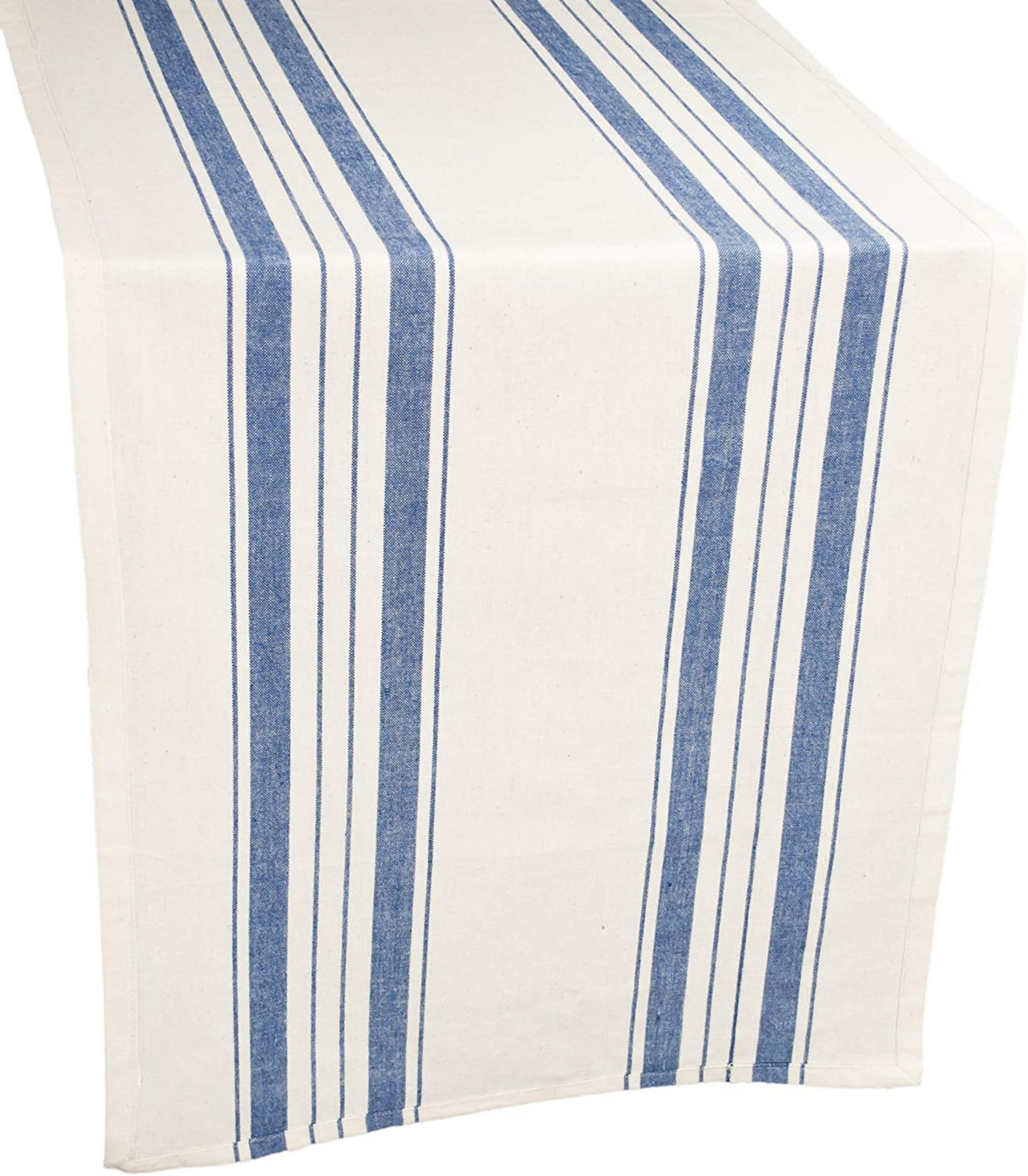 table runner in blue and beige stripe