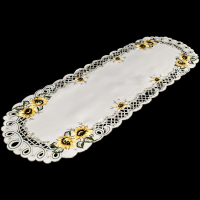 embroidered sunflower table runner – 14 x 28 oval