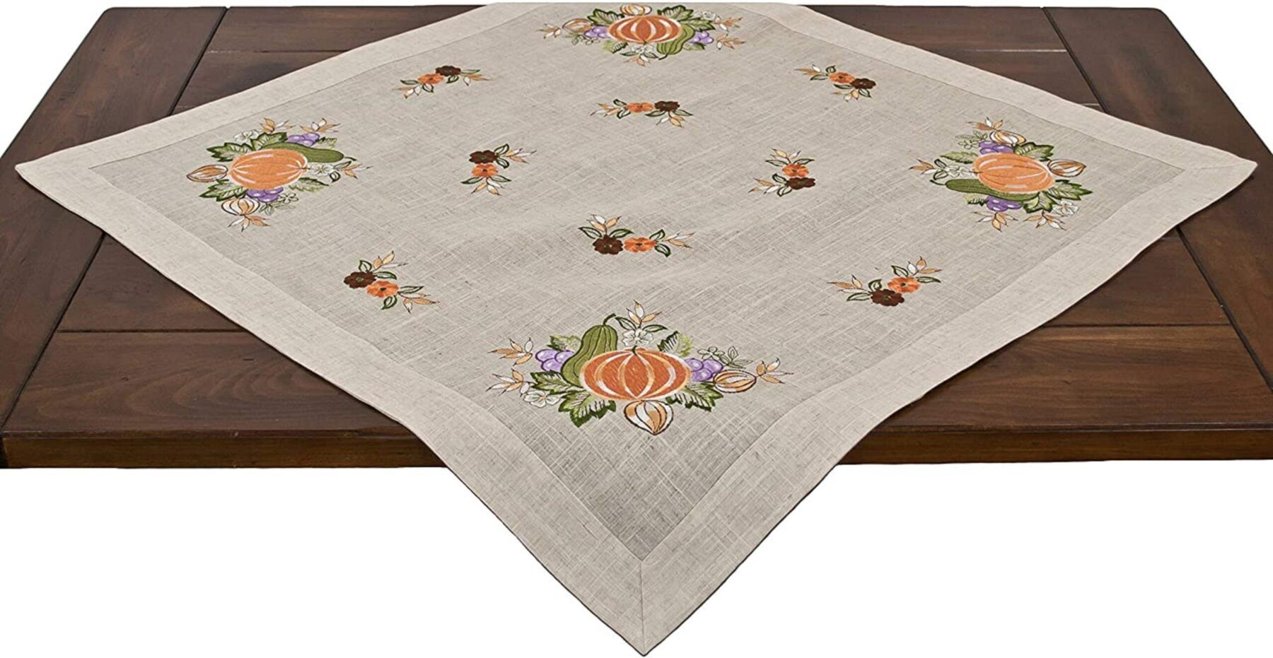 fall embroidered pumpkins and grapes table topper – 33x33