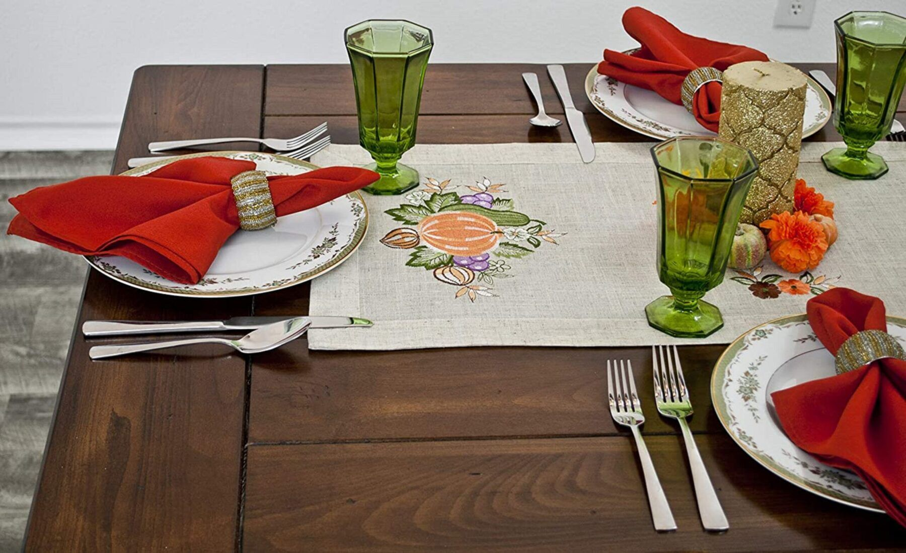 fall embroidery pumpkin and grapes table runner – 14.5″ x 51.1″