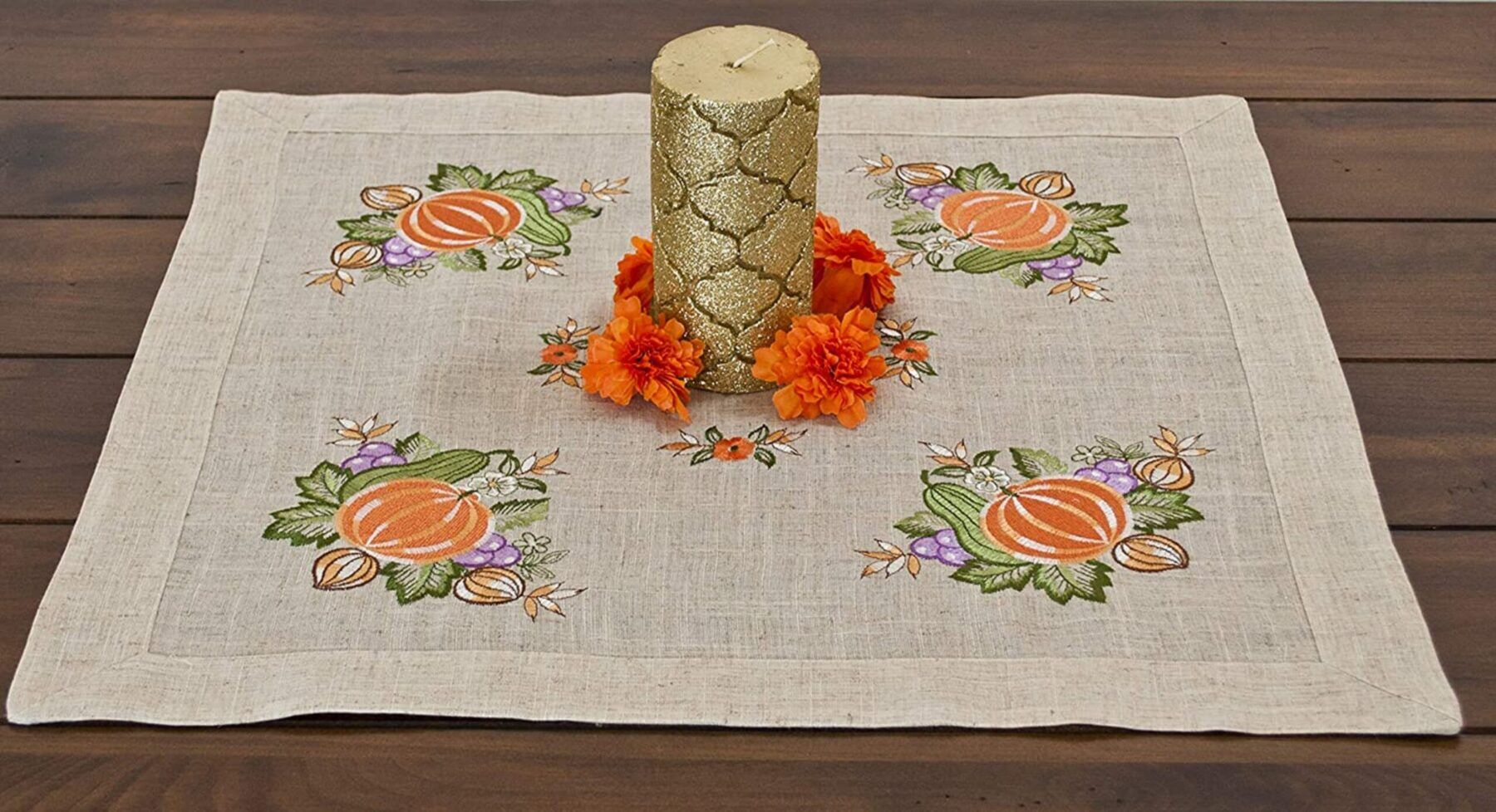 fall embroidered pumpkins and grapes table topper