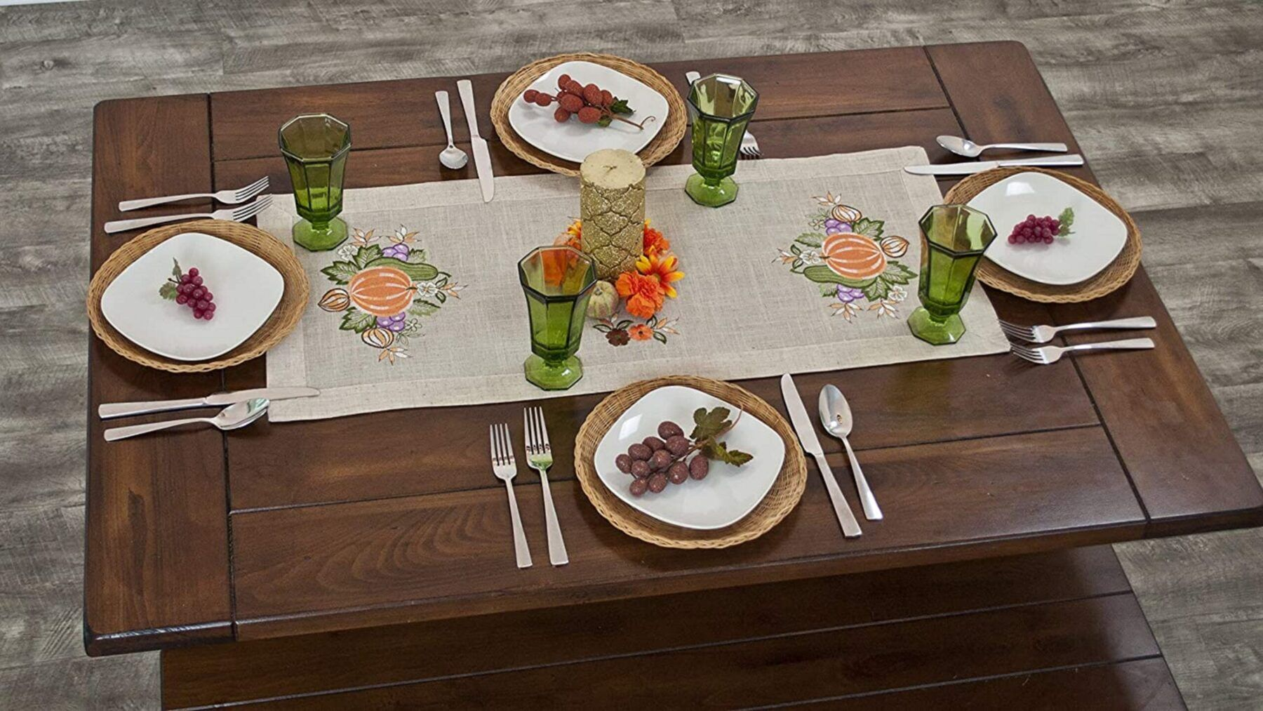 fall embroidery pumpkin and grapes table runner – 13″ x 26.5″