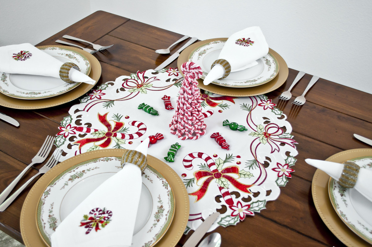 christmas doily with red candy cane