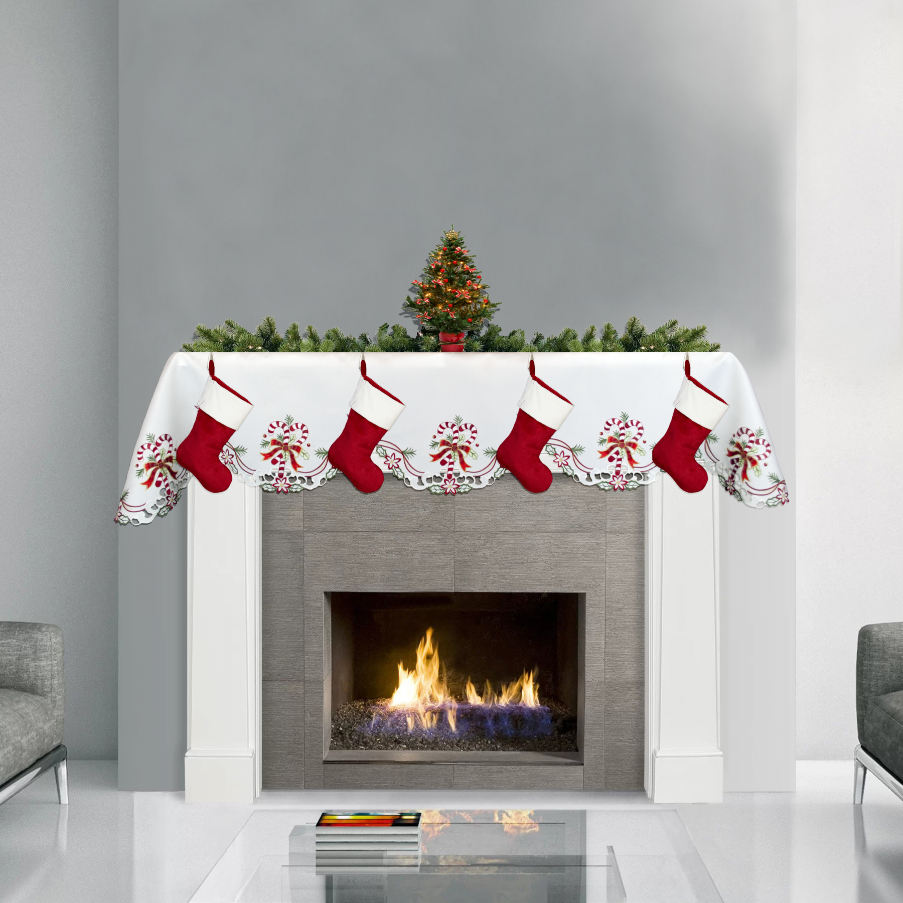 candy cane with ribbon mantel scarf