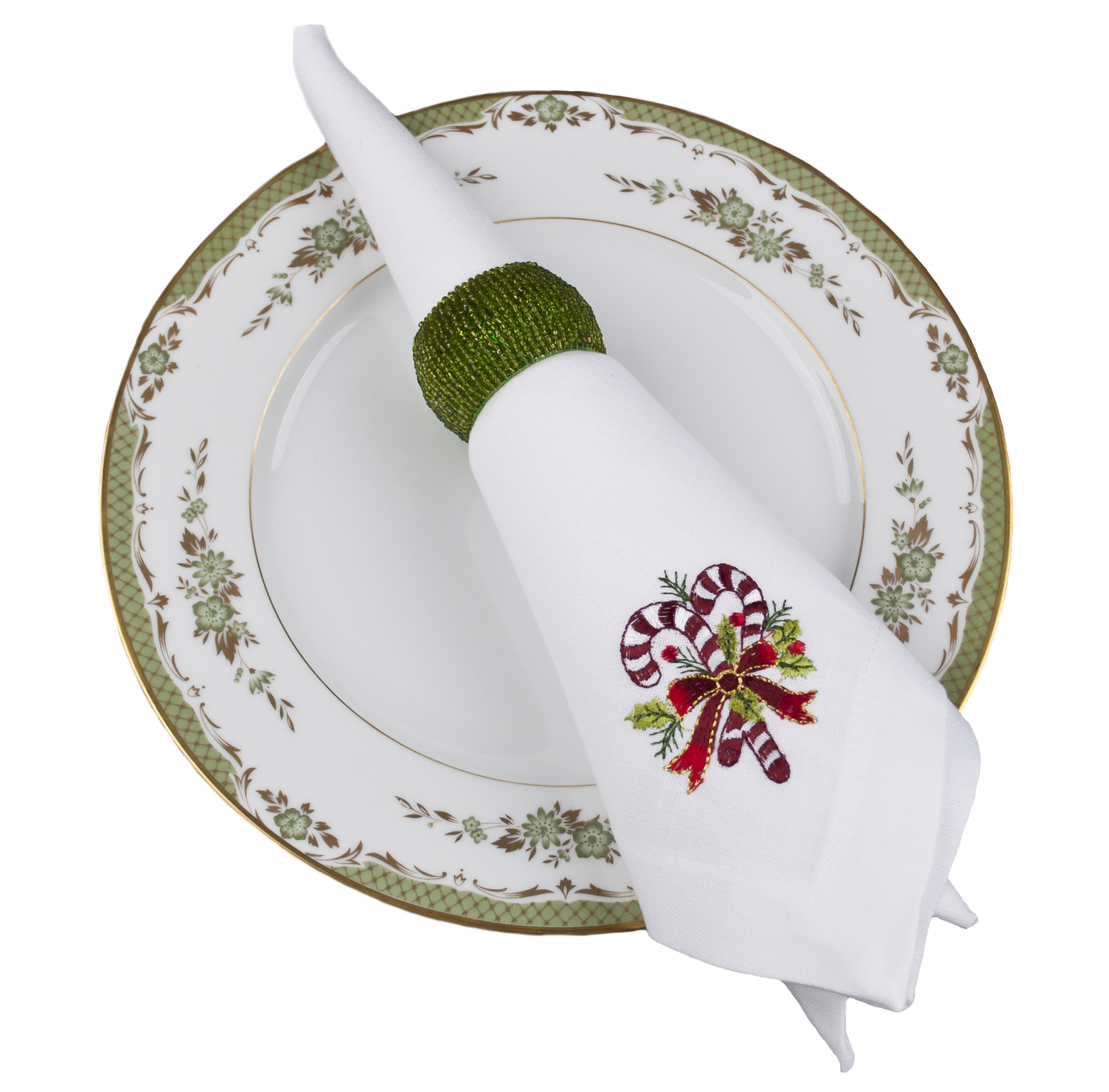 embroidered candy cane table napkins