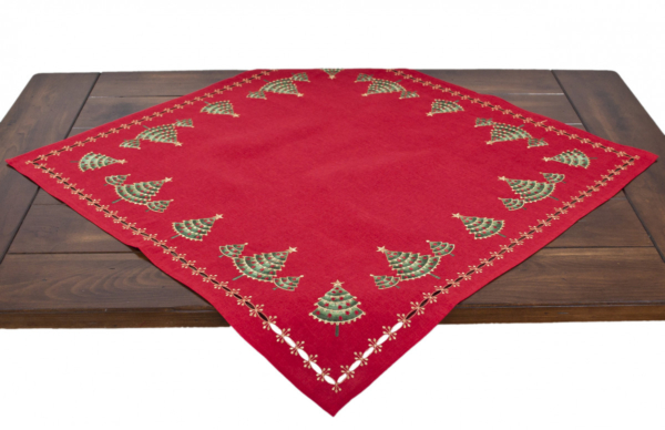 embroidered green christmas tree on red linen table topper